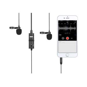 Picture of Boya BY-M1DM Dual Lavalier Universal Microphone with a Single 1/8 Stereo Connector, 13ft Cable for Cameras and Smmartphones